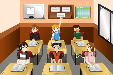 A vector illustration of kids in classroom