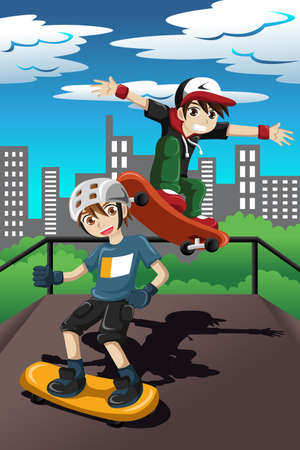 A vector illustration of happy kids playing skateboard in a skate park Illustration