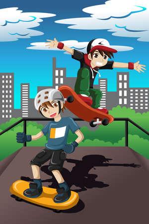 skateboard park: Una ilustraci�n vectorial de ni�os felices jugando skate en un parque de patinaje Vectores