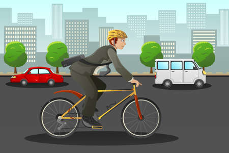 cartoon businessman: A vector illustration of businessman biking in the city