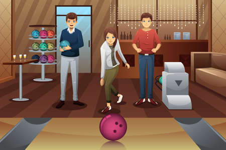 A vector illustration of young people playing bowling together Illusztráció
