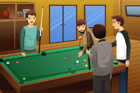pool table: A vector illustration of young people playing billiard together