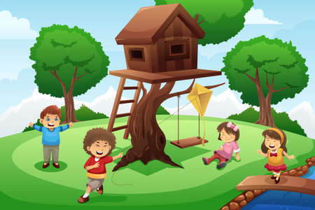 Una ilustración vectorial de niños felices jugando alrededor de la casa del árbol