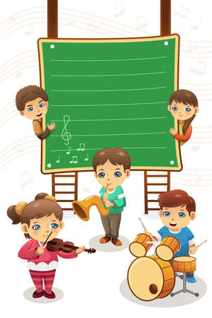 A vector illustration of poster of kids playing music, can be used for music class advertisement Çizim