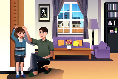 A vector illustration of father measuring his son height with height scale at home Vector