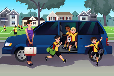 A vector illustration of mother driving her kids and their friends to soccer practice