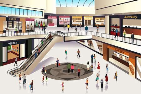 Una ilustración vectorial de escena en el interior del centro comercial