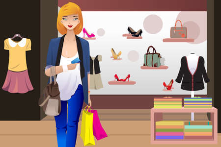A vector illustration of shopping woman inside the clothing store holding a credit card