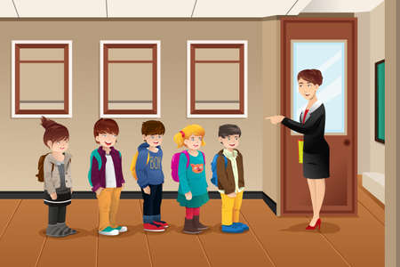 school class: A vector illustration of teacher lining up the students in front of the classroom Illustration