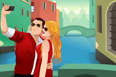 A vector illustration of tourist taking picture of themselves in the city with their cellphone Vector