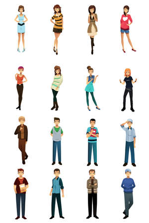 illustration of different teenagers in different styles and poses