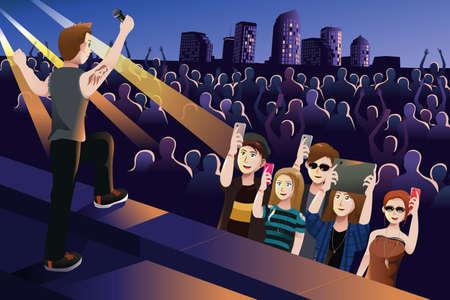 Een illustratie mensen in een concert
