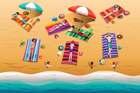 A illustration of people sunbathing on the beach Vector