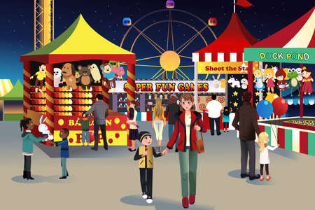 A illustration of people going to summer night outdoor fair