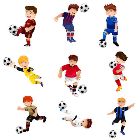 A illustration of happy boy playing soccer