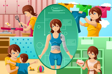 A illustration of housewife handling multiple tasks, portrayed as half human half machine Vector