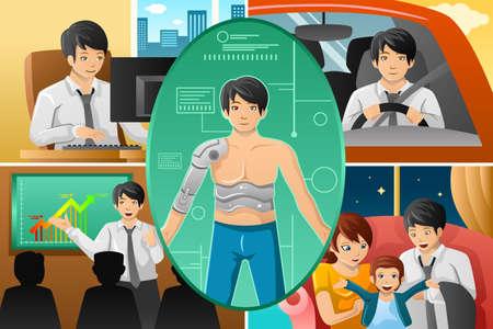 A vector illustration of Father handling multiple tasks, portrayed as half human half machine