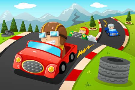 carro caricatura: Una ilustración vectorial de niños felices en un coche de carreras