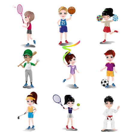 A illustration of kids exercising and playing different sports Ilustração