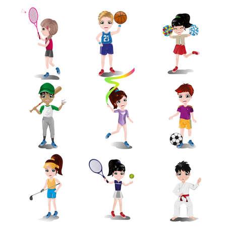 Een illustratie van kinderen te oefenen en het spelen van verschillende sporten