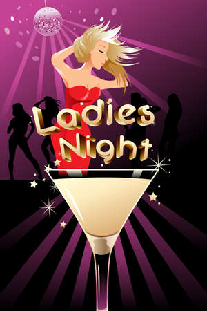 event party: A vector illustration of ladies night poster with copyspace