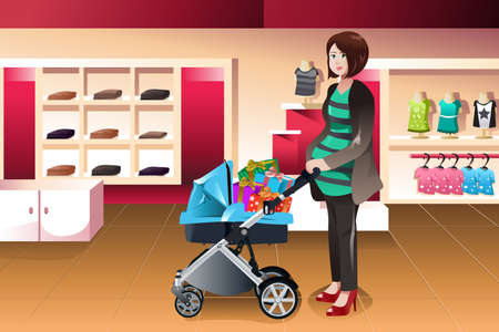 A vector illustration of pregnant woman pushing a stroller full of presents Vector