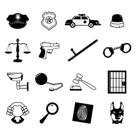 A vector illustration of law enforcement icons