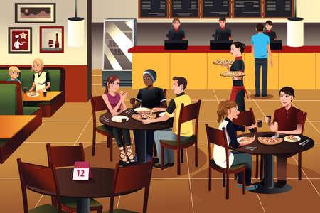 Een vector illustratie van jonge mensen eten pizza samen in een restaurant