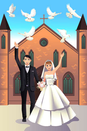 A vector illustration of a  couple releasing white doves on their wedding day
