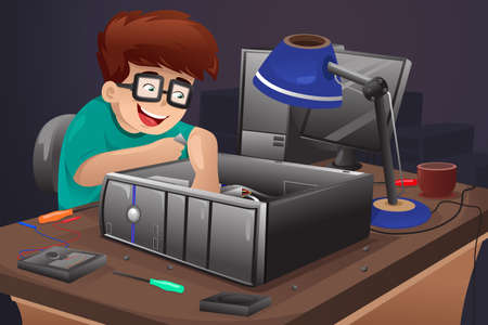 computer: A vector illustration of geek repairing a computer