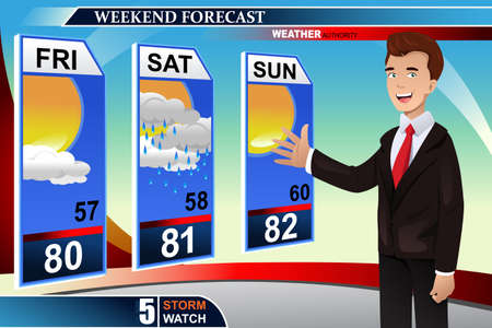 Een vector illustratie van de TV weer nieuws verslaggever op het werk