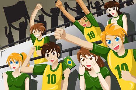 A vector illustration of soccer fans in a stadium