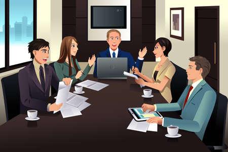 oficina: Una ilustración de la reunión del equipo de negocios en una oficina moderna