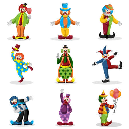illustration of clown icons sets Vector