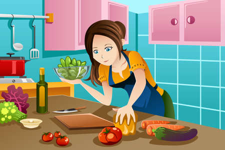 An illustration of beautiful woman cooking healthy food in the kitchen