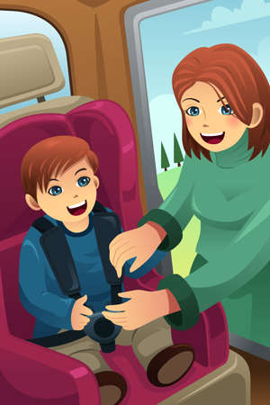 seatbelt: An illustration of mother putting on seatbelt for her son