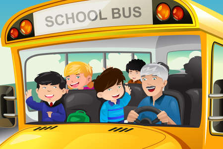 A vector illustration of happy kids having fun in a school bus Vector