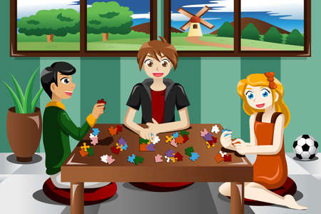 An illustration of kids playing puzzles Vector