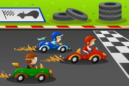 carro caricatura: Una ilustración de niños felices en un coche de carreras