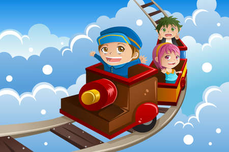 A illustration of happy kids riding a train
