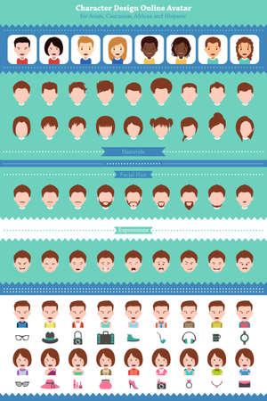 hispanic boys: A vector illustration of different online avatar