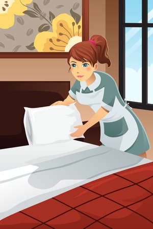 A vector illustration of hotel janitor making bed the hotel room