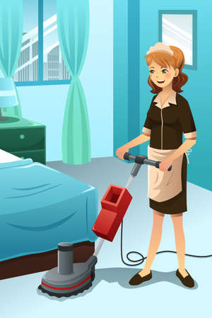 A vector illustration of hotel janitor cleaning floor with machine Vector