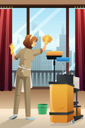 A vector illustration of hotel janitor cleaning the window with mop