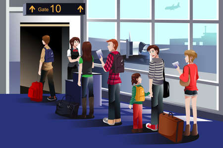 to queue: A vector illustration of people boarding the airplane at the gate