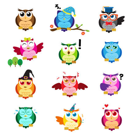 A vector illustration of different owls with different expressions Illustration