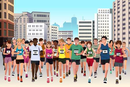 athlete cartoon: A vector illustration of group of marathon athlete running on street