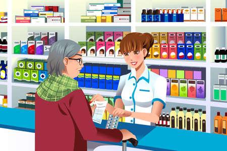 Una ilustración vectorial de farmacéutico para ayudar a una persona mayor en la farmacia