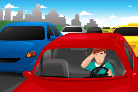 A vector illustration of man stuck in traffic Ilustração