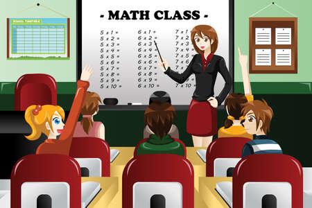 les geven: Een vector illustratie van kinderen studeren wiskunde in de klas met leraar